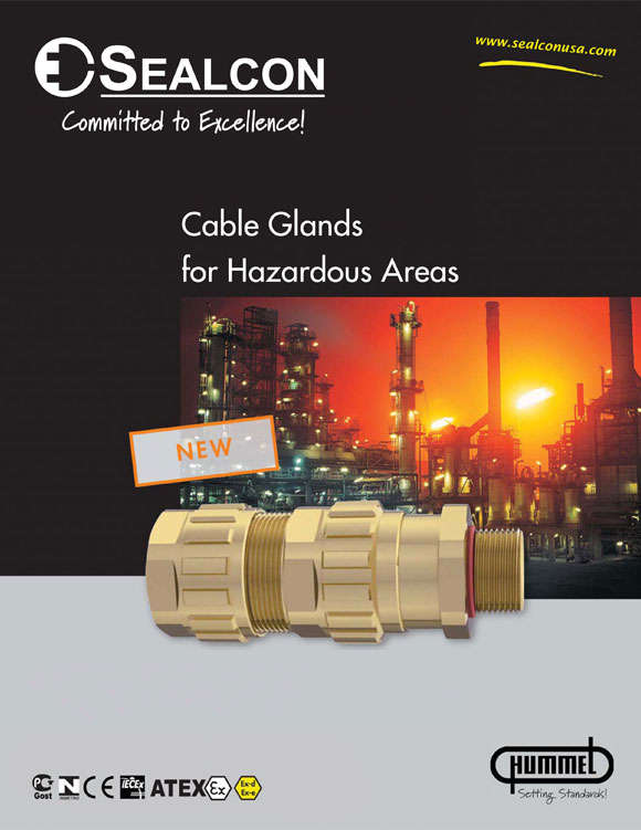 EXIOS Explosion Proof Cable Glands Flyer, Liquid Tight, Cable Gland, Cable Glands, Cable Gland Fittings, Cable Gland Bushings, Cord Grip,  Cable Gland, Cable Glands, Front Cover, Hazardous Location, Explosion Proof, IECEx, ATEX, Ex-d, Ex d, Exd, Ex-e, Ex e, Exe, IP 68, IP 68 5 bar, 5 bar, EN 60529, Sealcon, Hummel